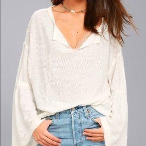 NWOT Free People Dahlia Thermal Long Sleeve Top